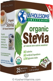 Wholesome Sweeteners Kosher Organic Stevia 35 Packets
