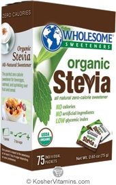 Wholesome Sweeteners Kosher Organic Stevia 75 Packets