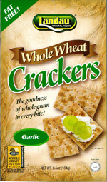Landau Kosher Whole Wheat Crackers Garlic 6.5 OZ.