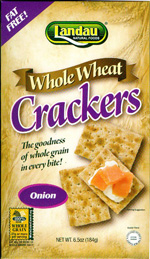 Landau Kosher Whole Wheat Crackers Onion 6.5 OZ
