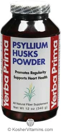 Yerba Prima Psyllium Husks Powder Vegetarian Suitable Not Certified Kosher 12 OZ