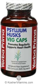 Yerba Prima Psyllium Husks Veg Caps Vegetarian Suitable Not Certified Kosher 180 Capsules