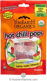 YumEarth Organics Kosher Lollipops Hot Chili 6 Pack 3 OZ