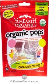 YumEarth Organics Kosher Lollipops Assorted Fruit 3 OZ