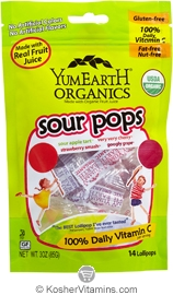 YumEarth Organics Kosher Lollipops Super Sour 6 Pack 3 OZ