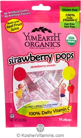 YumEarth Organics Kosher Lollipops Strawberry 6 Pack 3 OZ