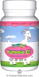 Maxi Health Kosher KiddieMax Yummie C (Vitamin C) 250 Mg Chewable Bubble Gum Flavor 180 Chewies