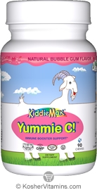 Maxi Health Kosher KiddieMax Childrens Yummie C (Vitamin C) 250 Mg Chewable Bubble Gum Flavor 90 Chewies