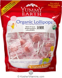 YumEarth Organics Kosher Lollipops Wet-Face Watermelon 12.3 OZ
