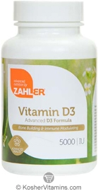 Zahlers Kosher Vitamin D3 5000 IU  BUY 1 GET 1 FREE  250 Softgels