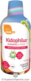 Zahlers Kosher Kidophilus Acidophilus for Children Advanced Probiotic Formula Liquid Fruit Punch Flavor  16 OZ