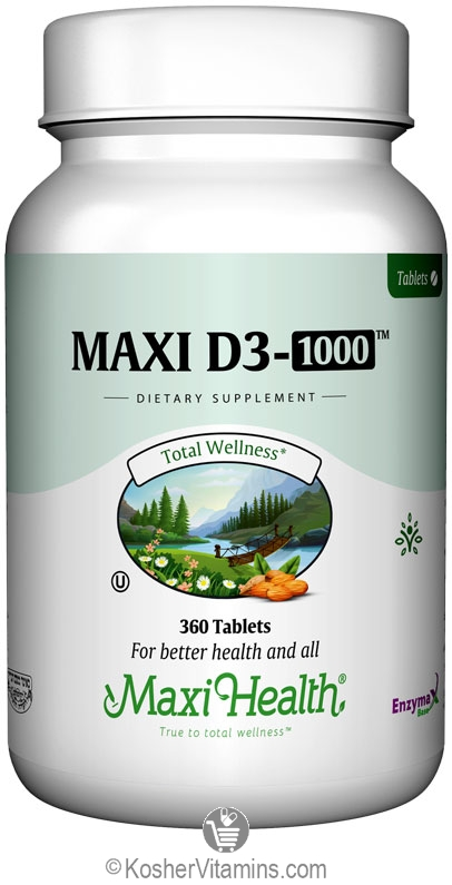 Maxi Health Kosher Vitamin D3 1000 IU 360 Tablets