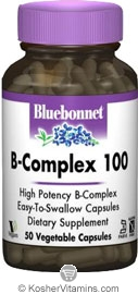 Bluebonnet Kosher B-Complex 100 50 Vegetable Capsules