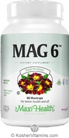 Maxi Health Kosher Mag 6 (Magnesium & B6) 60 Vegetable Capsules